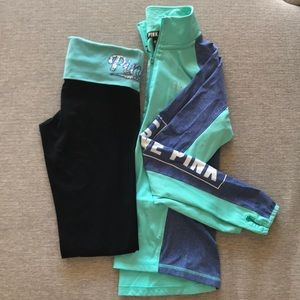 PINK athletic leggings and 1/2 zip set